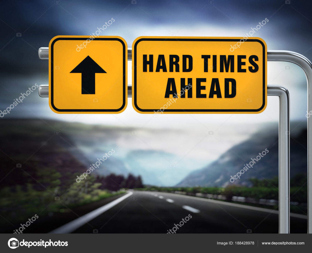 """street signs reading, """"hard times"""""""